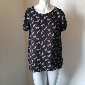 Forever 21 Black Blouse with White print